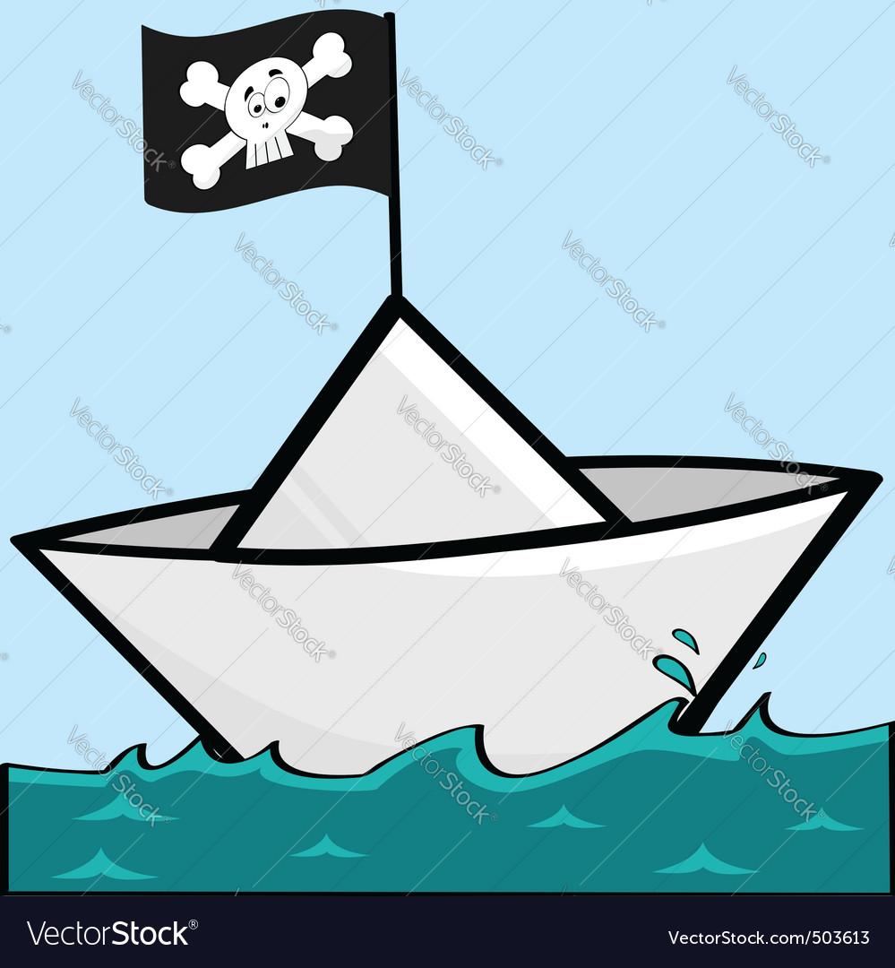 Pirate paper boat vector | Price: 1 Credit (USD $1)
