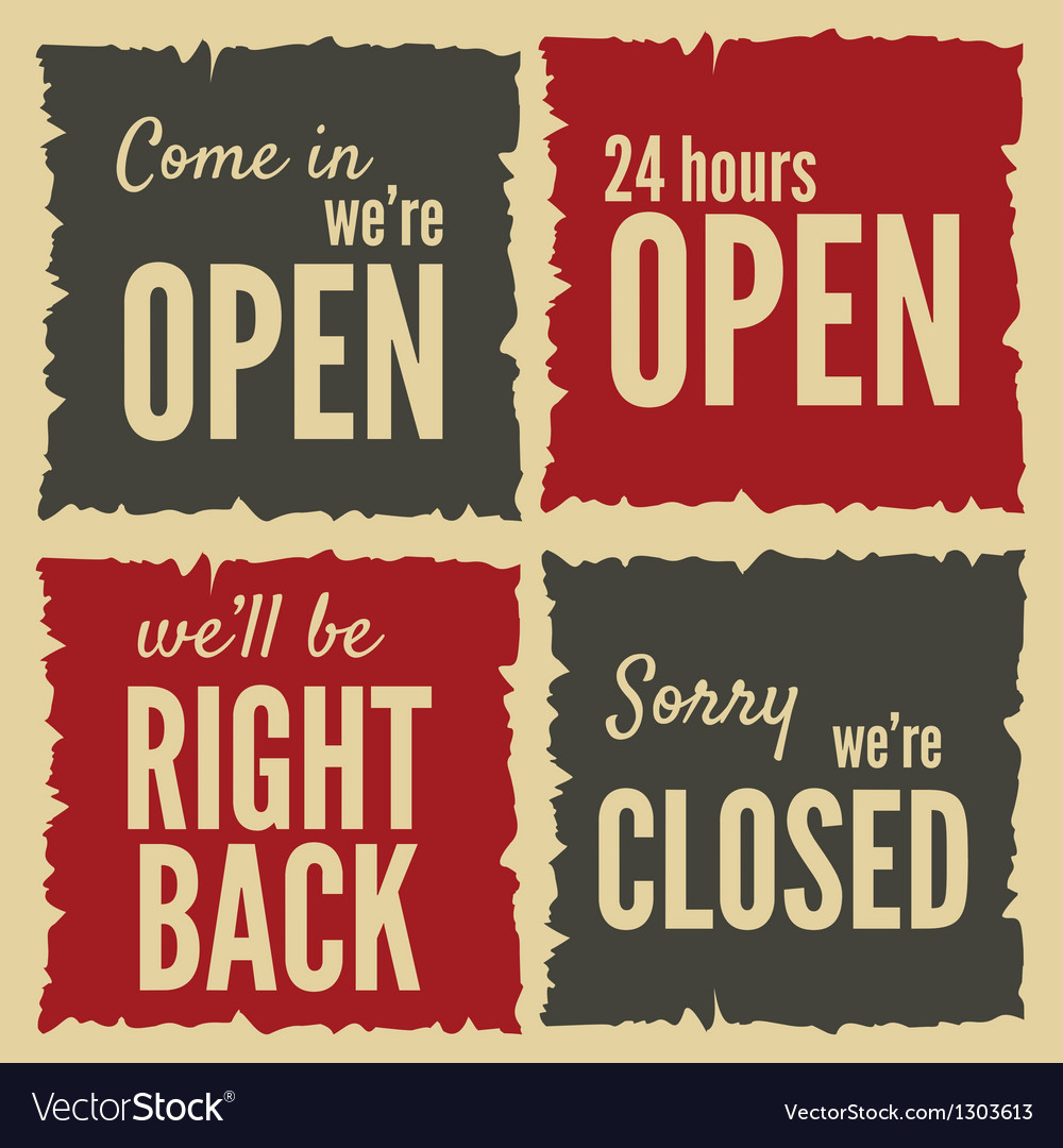 Retro open closed posters vector | Price: 1 Credit (USD $1)