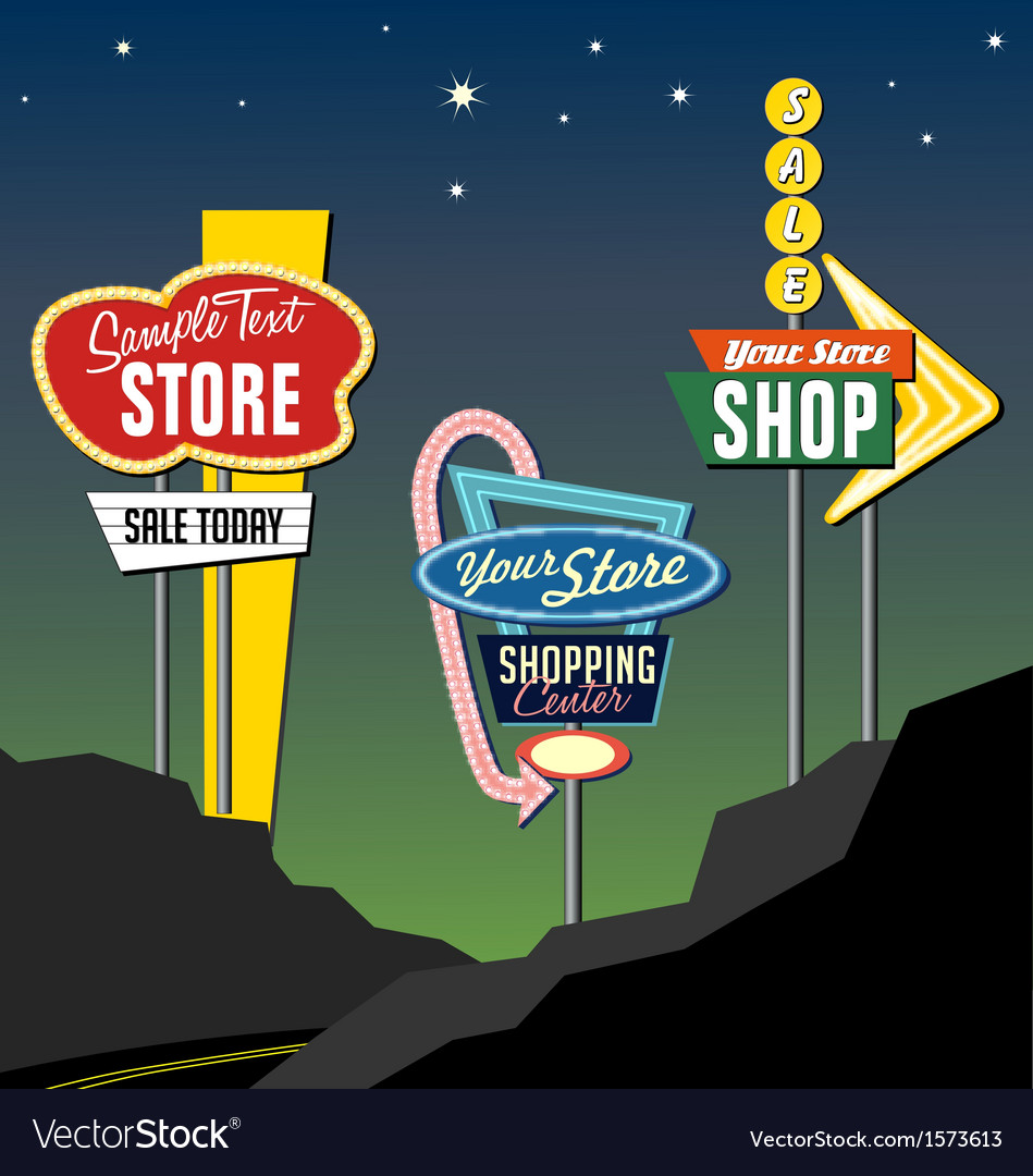 Retro roadside neon signs 2 vector | Price: 3 Credit (USD $3)