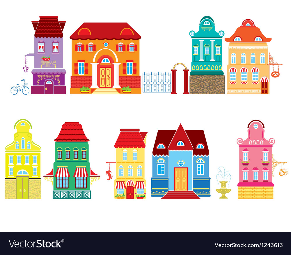 Set of cartoons fairy tale drawing houses isolated vector | Price: 3 Credit (USD $3)