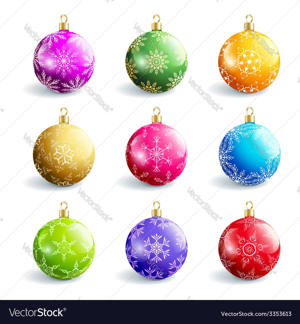 Set of decorative colorful christmas balls vector | Price: 1 Credit (USD $1)