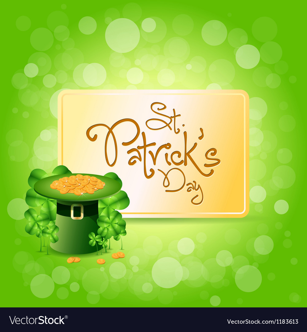 St patricks day card with leprechaun hat vector | Price: 1 Credit (USD $1)