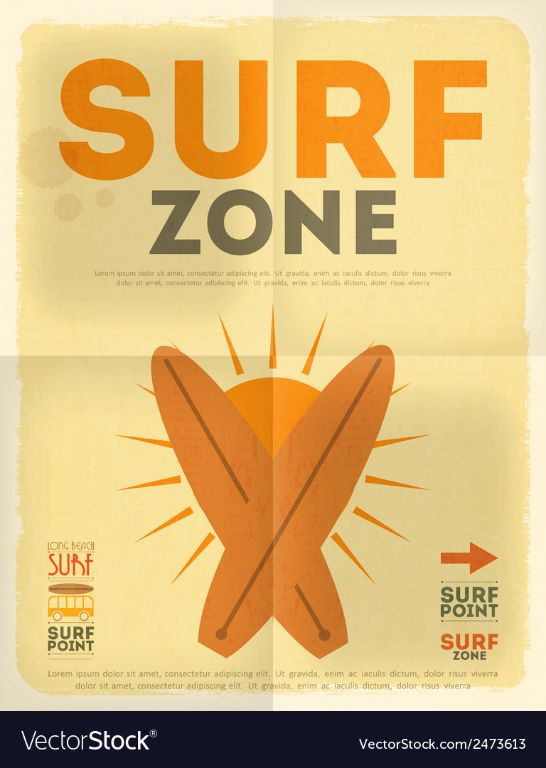 Surf poster vector | Price: 1 Credit (USD $1)