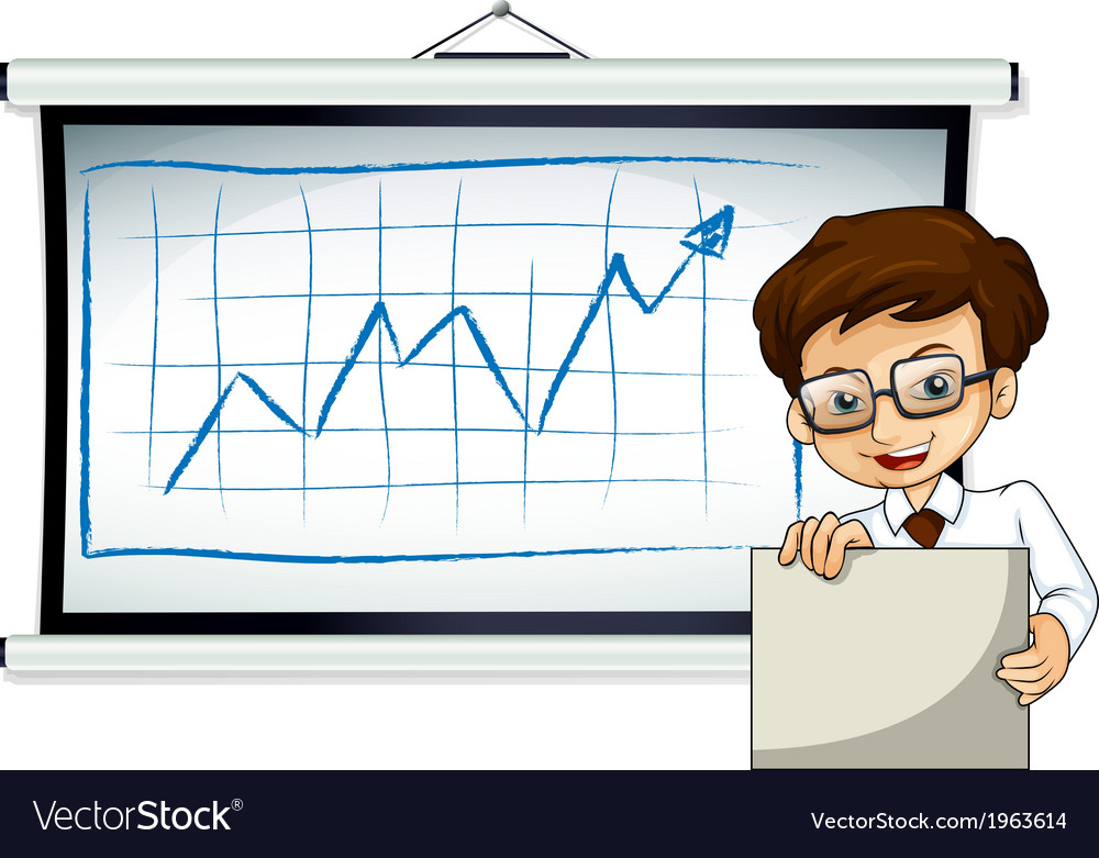 A happy businessman in front of the whiteboard vector | Price: 1 Credit (USD $1)
