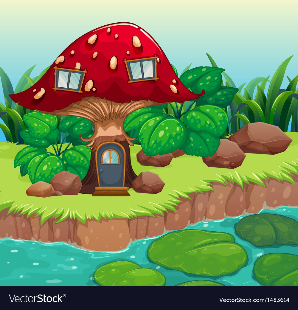 A red wooden mushroom house vector | Price: 1 Credit (USD $1)