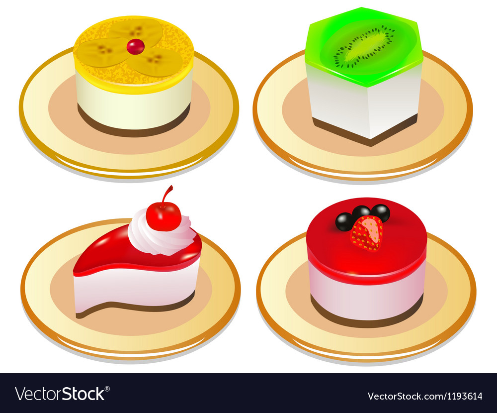 A set of desserts of jelly on plates vector | Price: 1 Credit (USD $1)