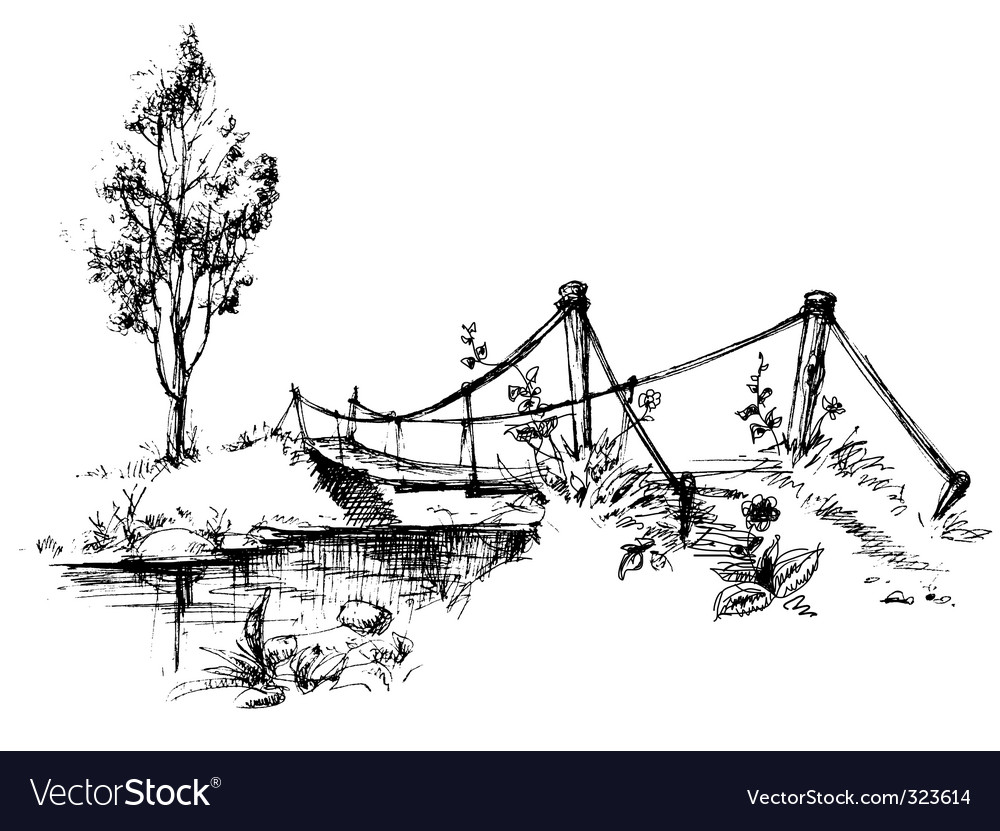 Bridge over river vector | Price: 1 Credit (USD $1)