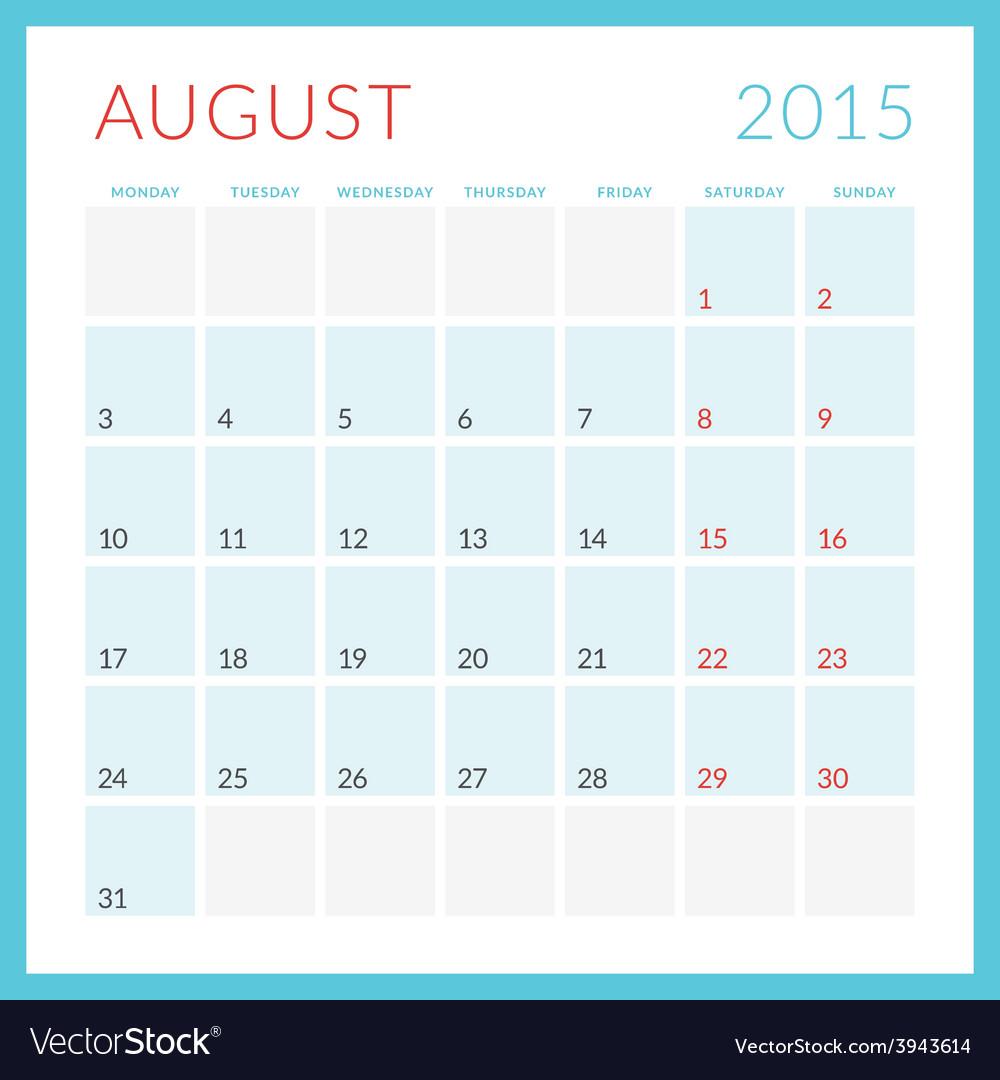 Calendar 2015 flat design template august week vector   Price: 1 Credit (USD $1)