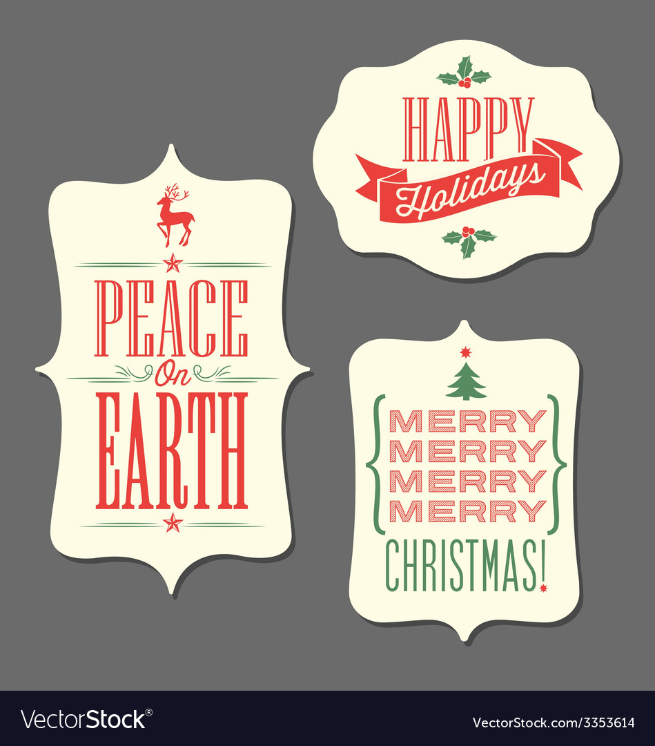Christmas holiday tags vintage type design vector | Price: 1 Credit (USD $1)