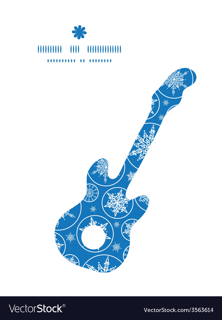 Falling snowflakes guitar music silhouette pattern vector | Price: 1 Credit (USD $1)