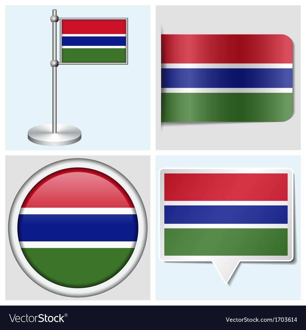 Gambia flag - sticker button label flagstaff vector | Price: 1 Credit (USD $1)