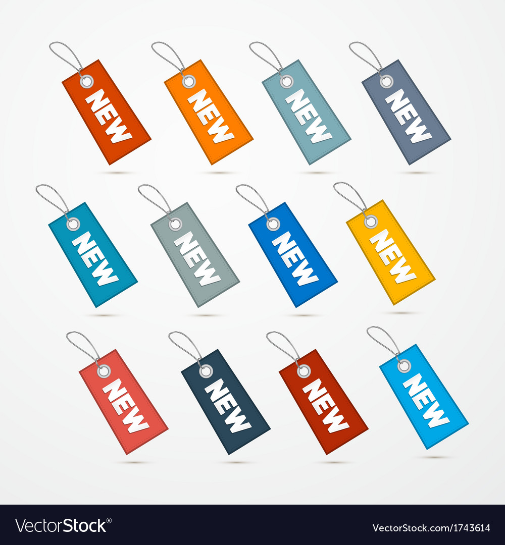 Label tag set with string and title new vector | Price: 1 Credit (USD $1)