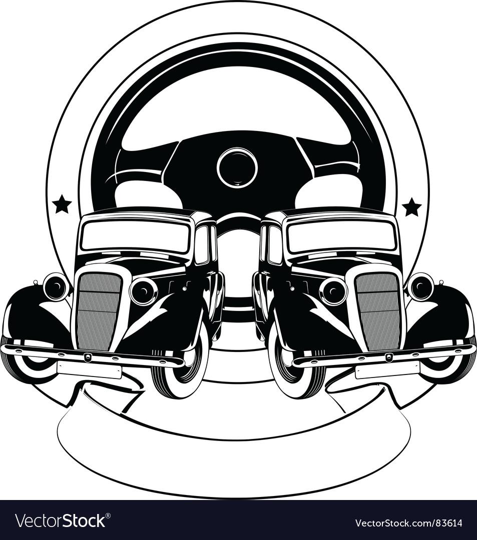 Old car emblem vector | Price: 1 Credit (USD $1)
