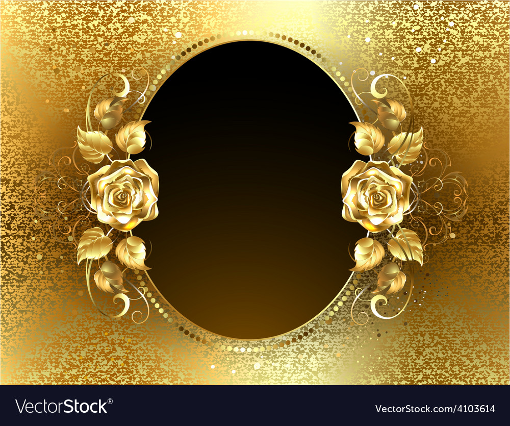 Oval banner with golden roses vector | Price: 1 Credit (USD $1)