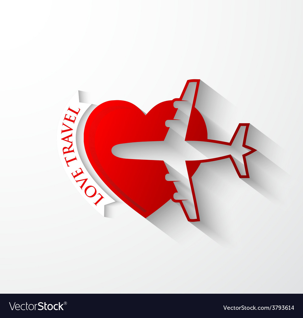 Red silhouette of jet airplane on heart shape vector | Price: 1 Credit (USD $1)