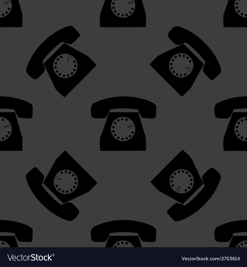 Retro telephone web icon flat design seamless gray vector | Price: 1 Credit (USD $1)