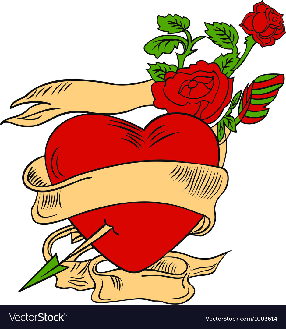 Rose and heart emblem vector | Price: 1 Credit (USD $1)
