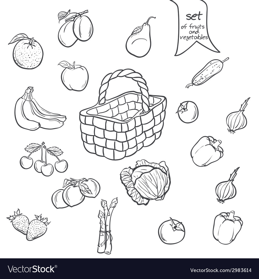 Set of fruits and vegetables with a basket in vector | Price: 1 Credit (USD $1)