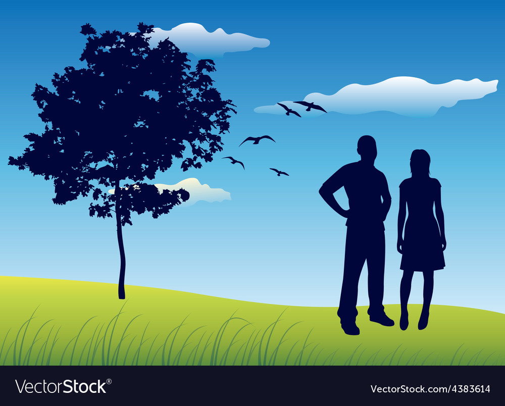 Silhouette of man and woman standing on summer vector | Price: 1 Credit (USD $1)