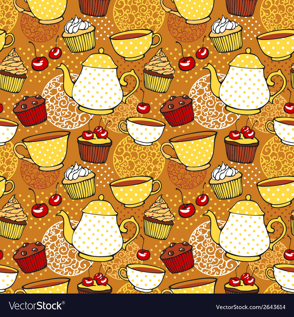 Tea and muffins sweet seamless pattern vector | Price: 1 Credit (USD $1)
