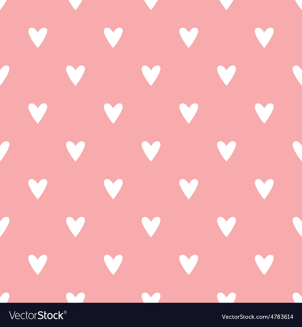 Tile pattern with white hearts on pink background vector | Price: 1 Credit (USD $1)