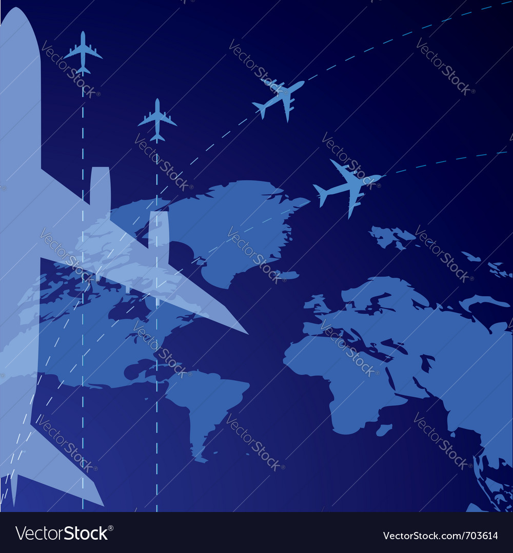 World map and airplane vector | Price: 1 Credit (USD $1)