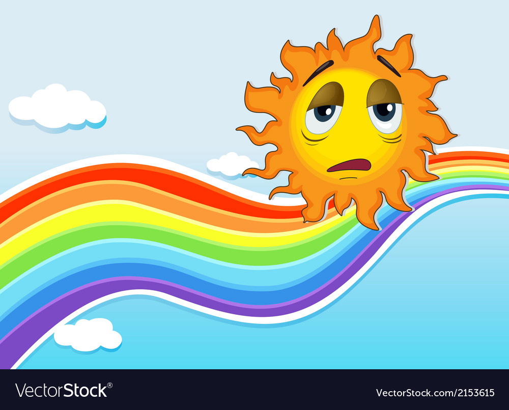 A sad sun near the rainbow vector | Price: 1 Credit (USD $1)