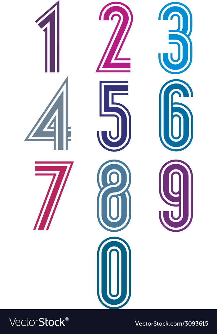 Funky retro stripes numbers set vector | Price: 1 Credit (USD $1)