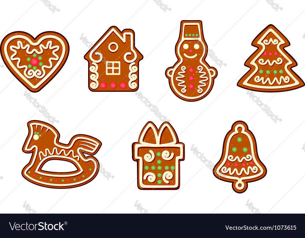 Gingerbread christmas objects set vector | Price: 1 Credit (USD $1)