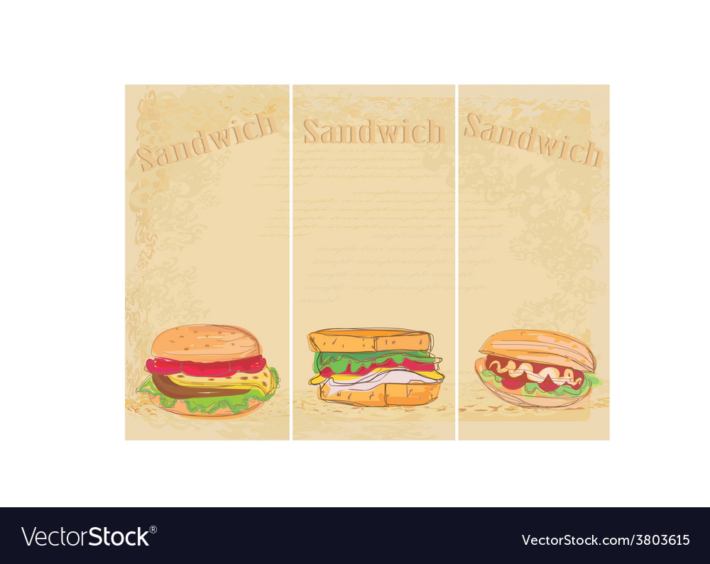 Horizontal grunge background with sandwich set vector | Price: 1 Credit (USD $1)