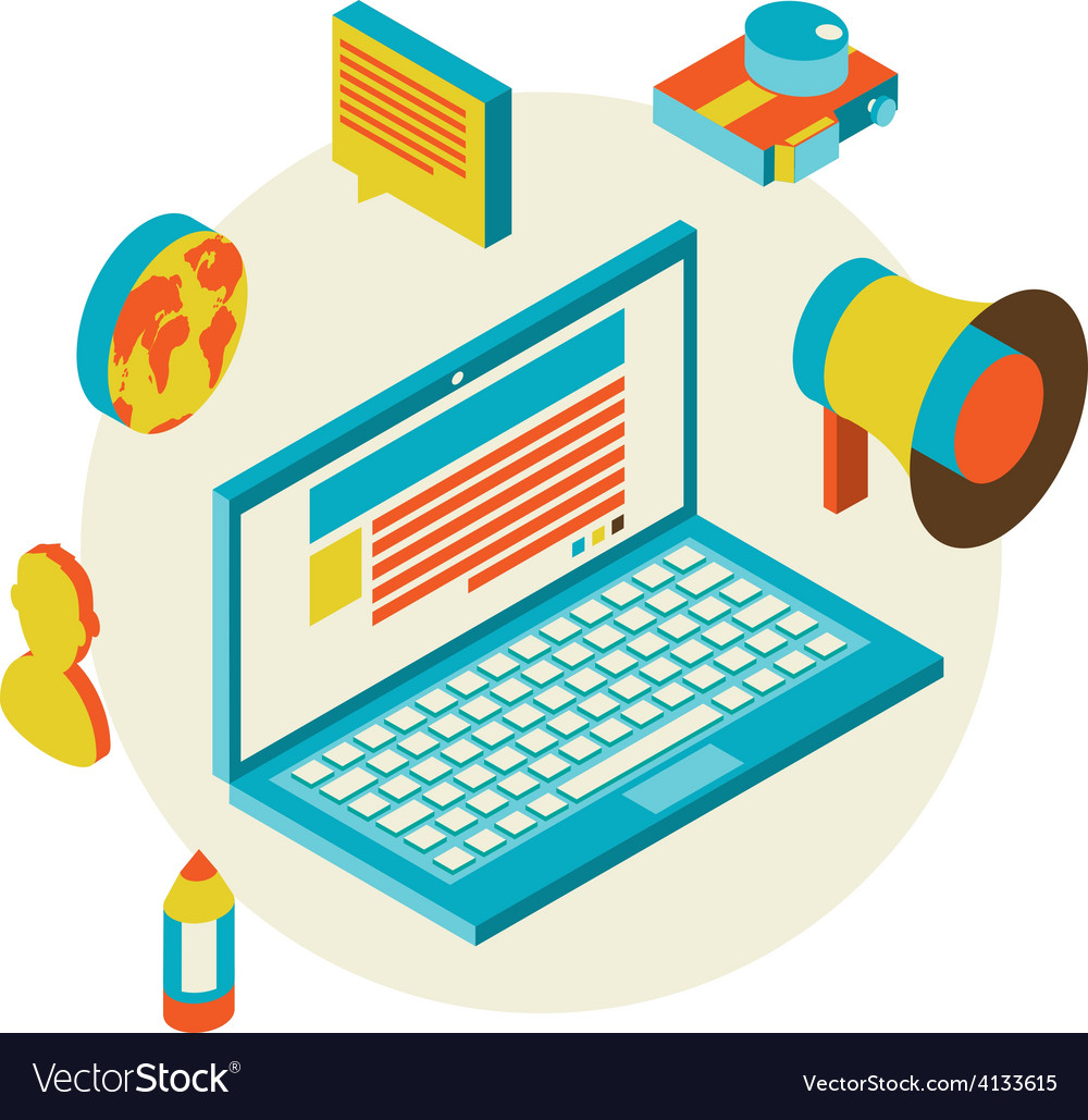 Isometric design modern concept of blogging vector | Price: 1 Credit (USD $1)
