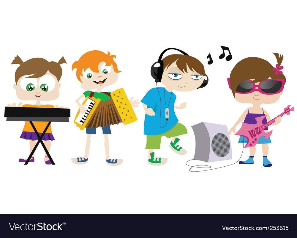 Kids playing music vector | Price: 1 Credit (USD $1)