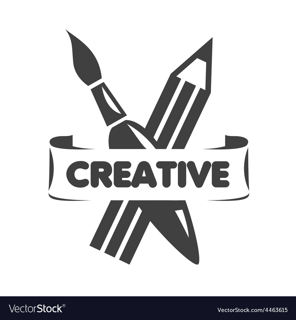 Logo brush and pencil for creativity vector | Price: 1 Credit (USD $1)