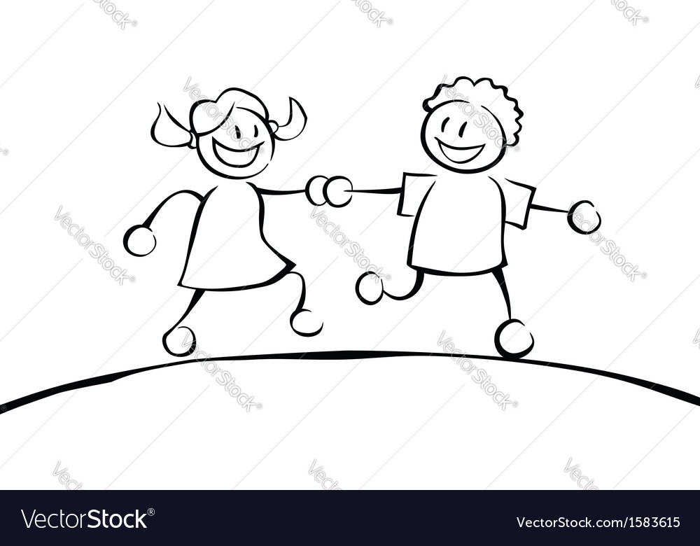 Two black and white kids holding hands vector | Price: 1 Credit (USD $1)