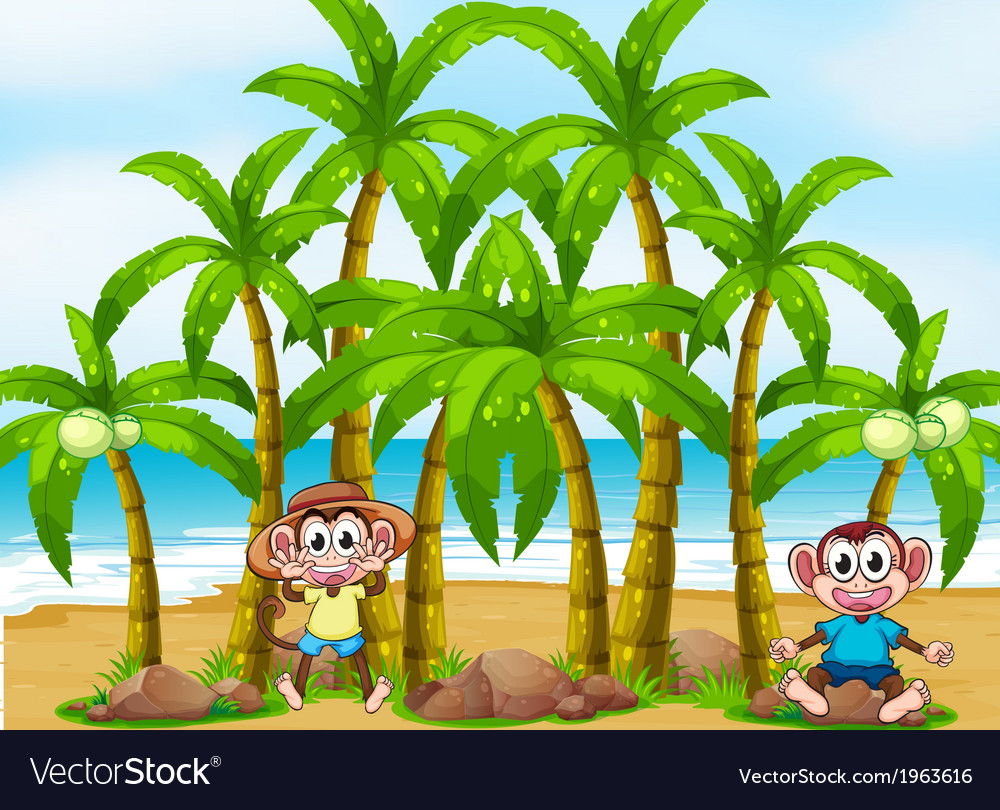 A beach with coconut trees and playful monkeys vector | Price: 3 Credit (USD $3)