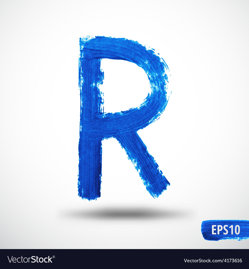 Alphabet letter r watercolor alphabet vector | Price: 1 Credit (USD $1)
