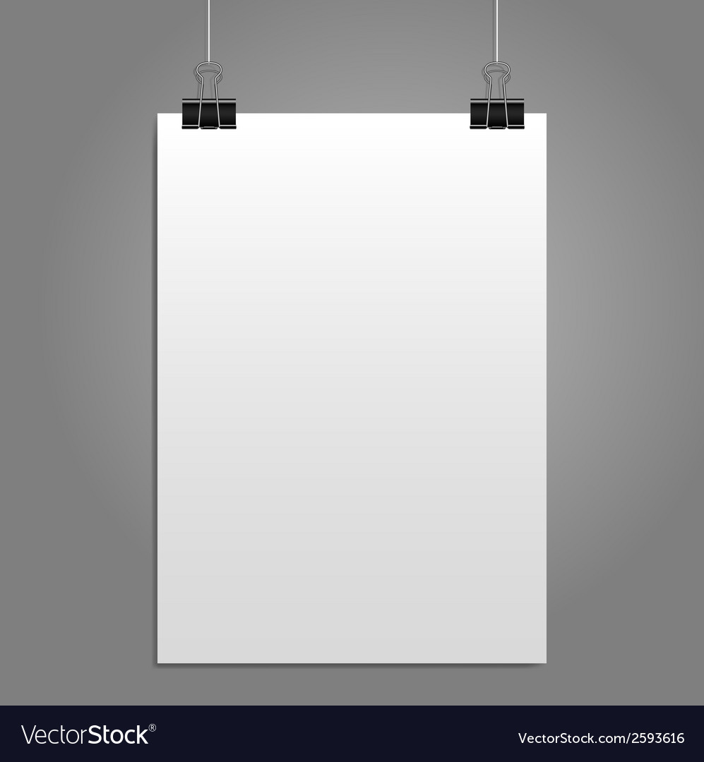 Blank white page binder clip vector | Price: 1 Credit (USD $1)