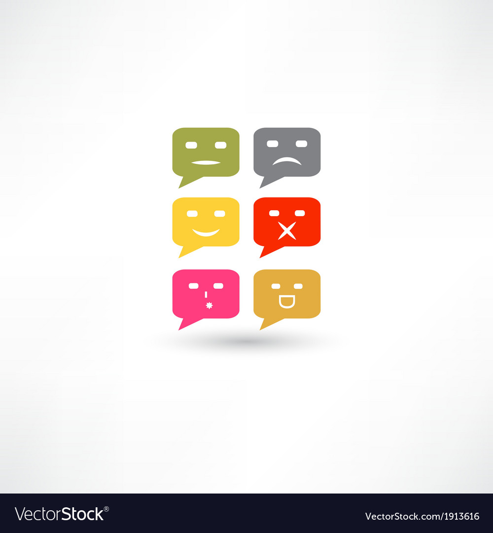 Bubble speech emotions color vector | Price: 1 Credit (USD $1)