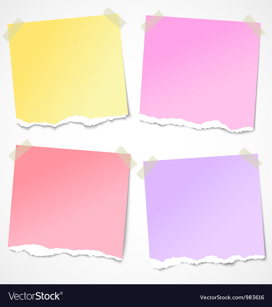 Colorful torn paper stickers notes and reminders vector | Price: 1 Credit (USD $1)