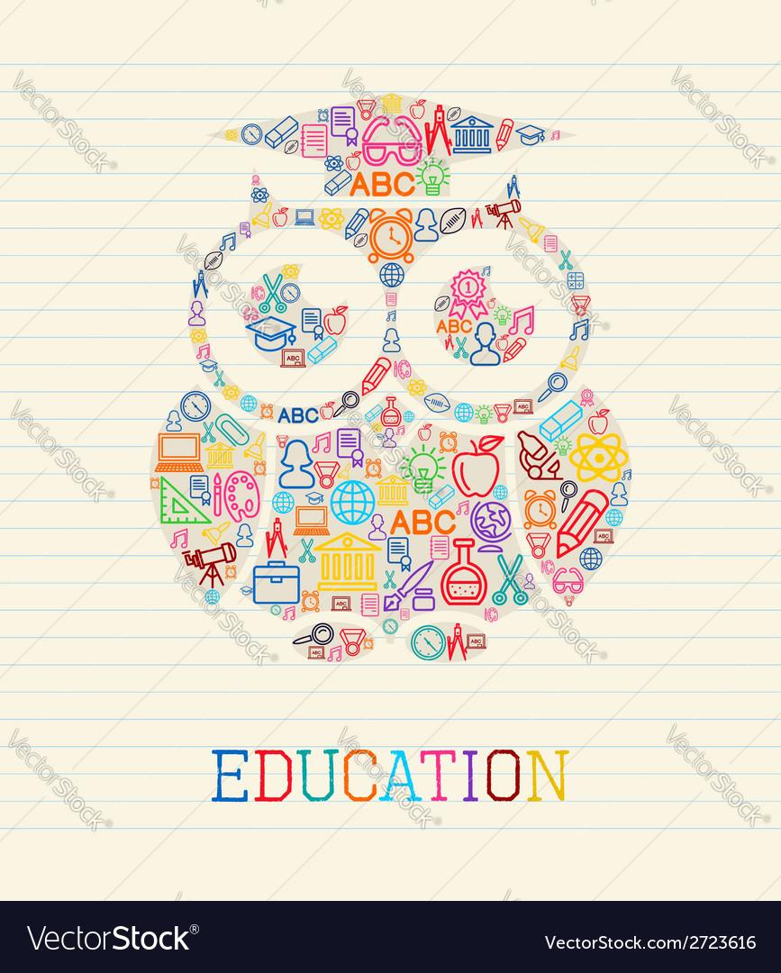 Education wisdom owl concept vector | Price: 1 Credit (USD $1)