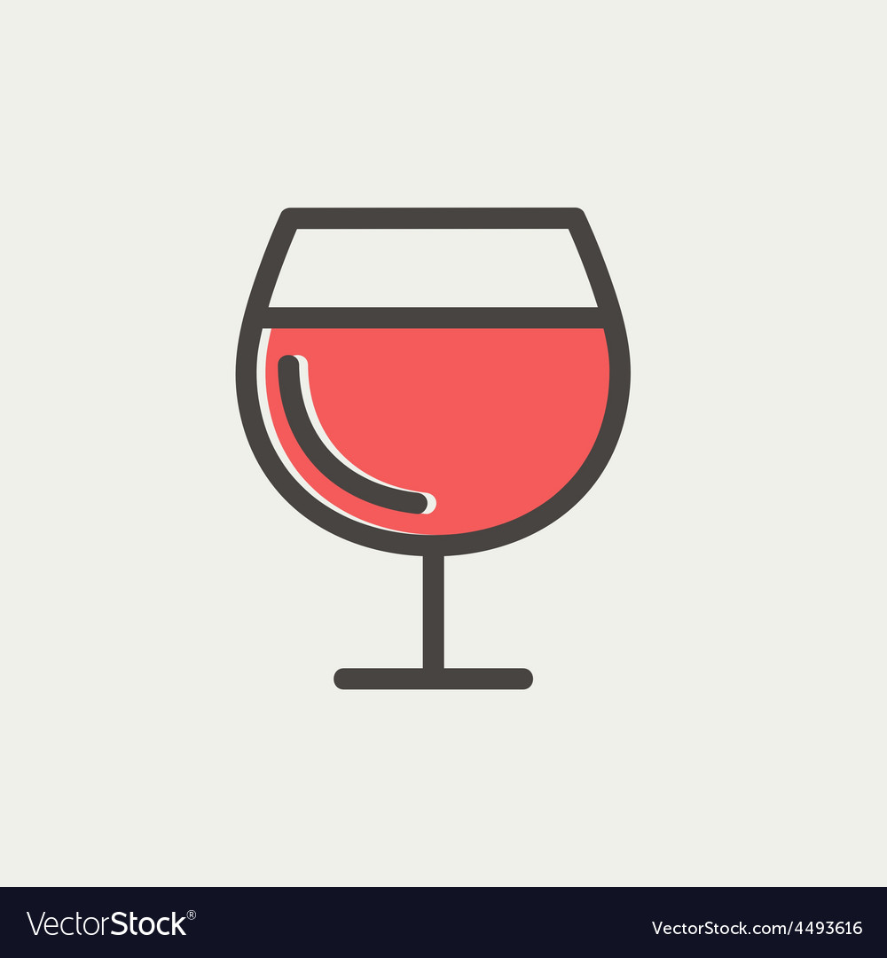 Glass of wine thin line icon vector   Price: 1 Credit (USD $1)