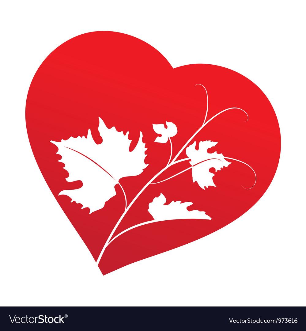 Grape leaves inside heart frame vector | Price: 1 Credit (USD $1)