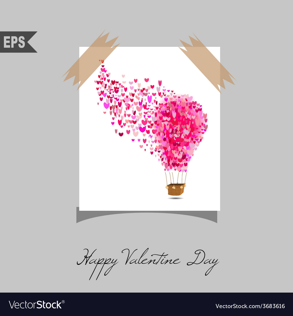 Happy valentines day cards with gift on background vector | Price: 1 Credit (USD $1)