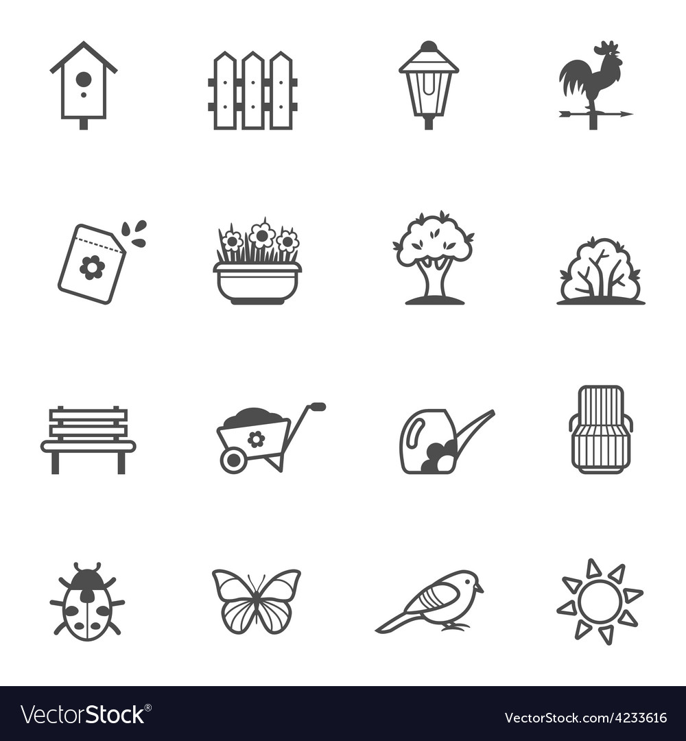 Icon set of garden tools and accessories vector | Price: 1 Credit (USD $1)