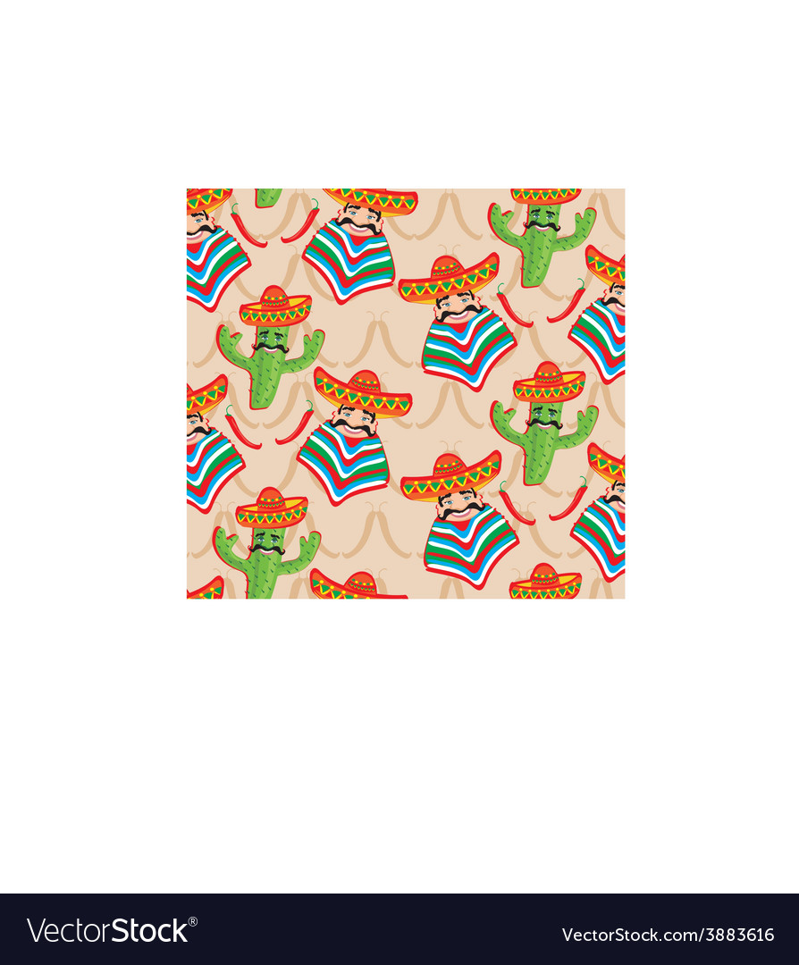 Mexican pattern with cactus hat and chill over bac vector | Price: 1 Credit (USD $1)