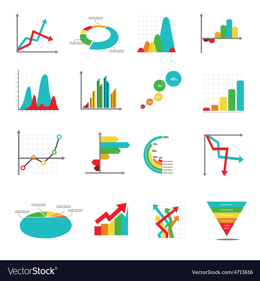 Set of business marketing dot bar pie charts vector | Price: 1 Credit (USD $1)