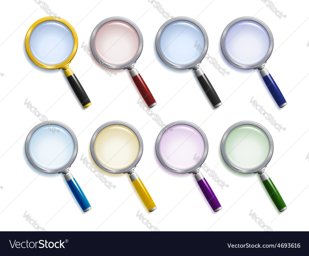 Set of colored magnifying glasses vector | Price: 1 Credit (USD $1)