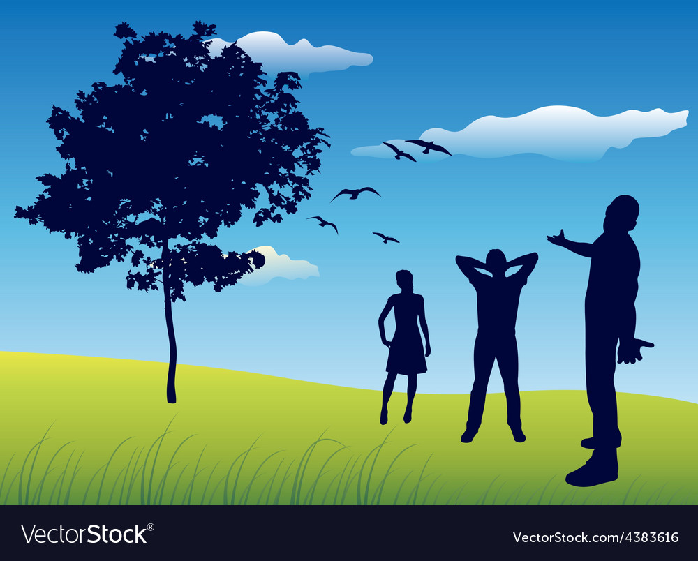 Silhouette of three people standing on summer vector | Price: 1 Credit (USD $1)