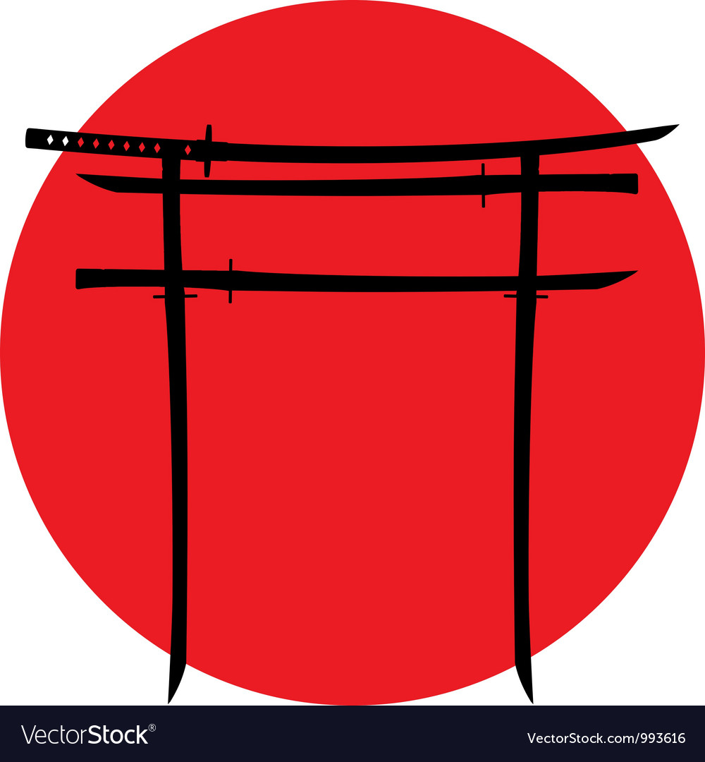 Silhouette of torii gate with japanese swords vector | Price: 1 Credit (USD $1)