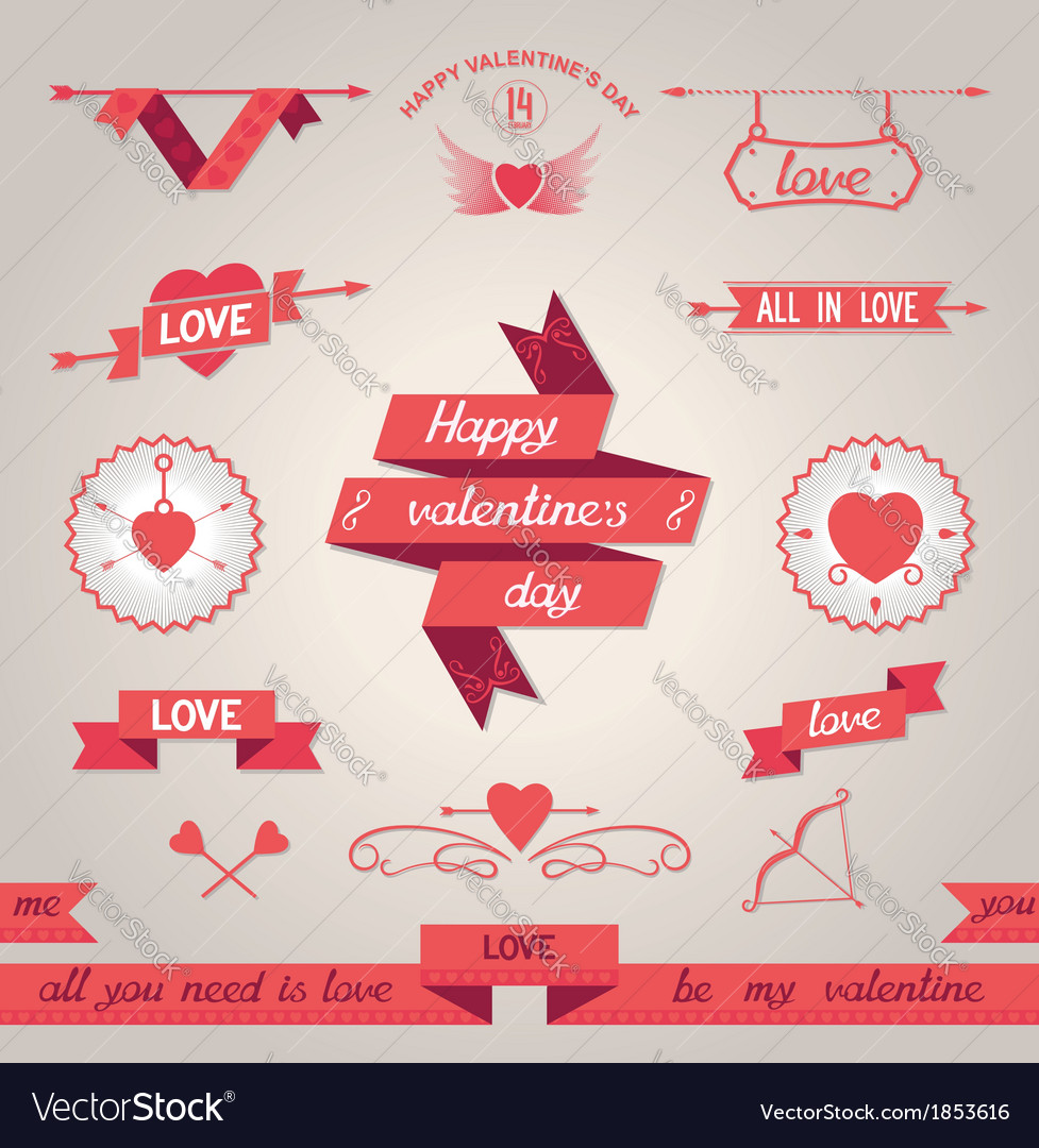 Valentines day set design elements vector | Price: 1 Credit (USD $1)
